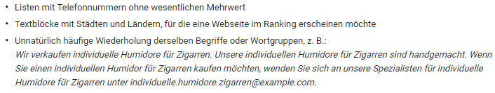 Beispiele Keyword Stuffing Example