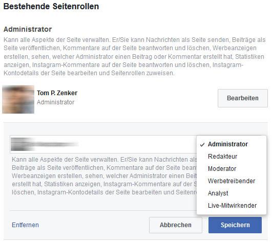 Bestehende Rolle auf einer Facebook Seite ändern