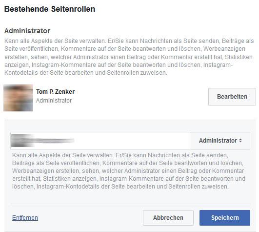 Bestehende Rolle auf einer Facebook Seite entfernen