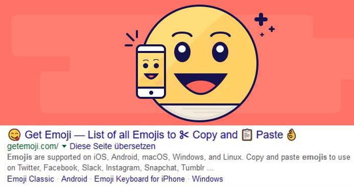 Emojis in Google-SERPs – Smileys in Suchergebnissen