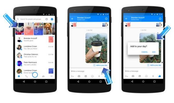 Facebook App Messenger Day Storie Funktion