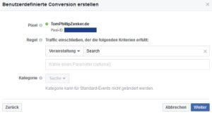 Facebook benutzerdefiniertes Pixel Event erstellen
