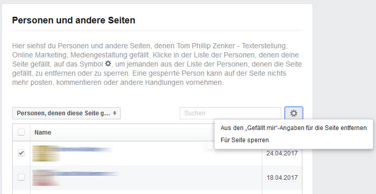 Facebook Fans entfernen oder sperren