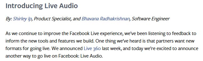 Facebook Introducing Live Audio Social Media