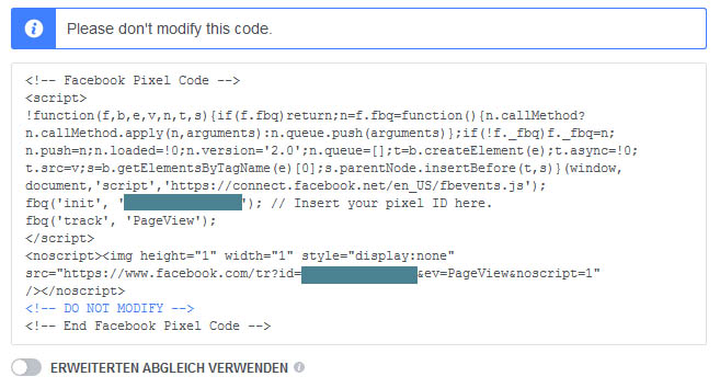 Facebook Pixel Basiscode installieren
