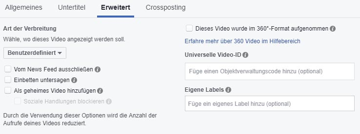 Facebook Video Upload Settings