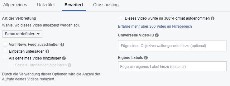 Facebook Video Upload Settings