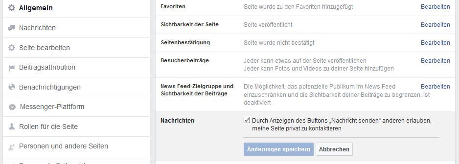 Facebook: Als Unternehmensseite private Nachricht senden