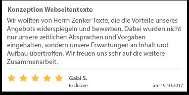 Gabi S. Konzeption der Webseitentexte