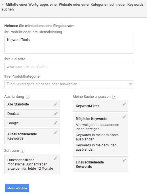 Google AdWords Keyword Planer Tool