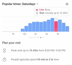 Google Maps Popular times and peak wait Feature