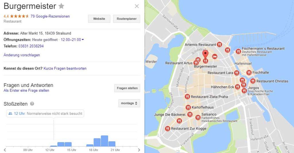Google Maps Wartezeit von Restaurant und Supermarkt