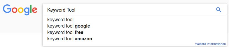 Google Suggest meistgesuchten Keywords