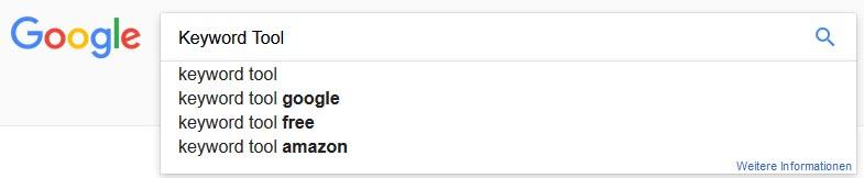 Google Suggest meistgesuchten Keywords