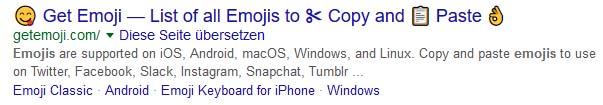 Google zeigt Emojis in Suchergebnissen an