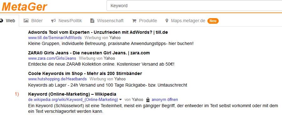 MetaGer Zusammenfassung Suchmaschinen