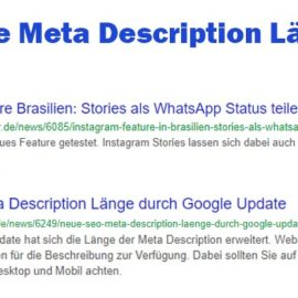 Neue SEO Meta Description Länge durch Google Update
