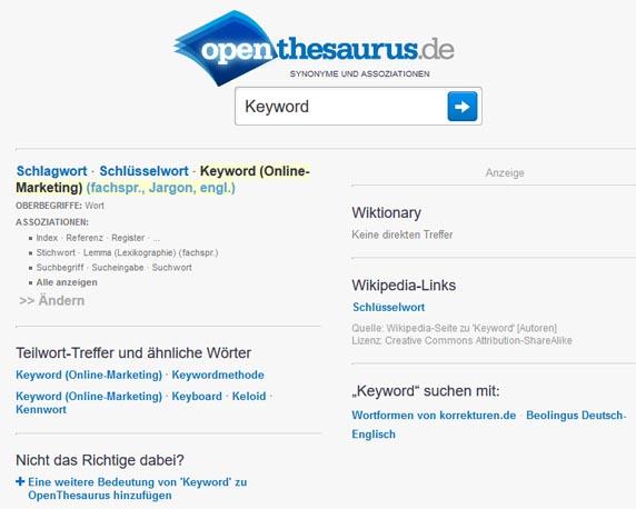 OpenThesaurus Keyword Tool zur Identifizierung von verwandten Begriffen