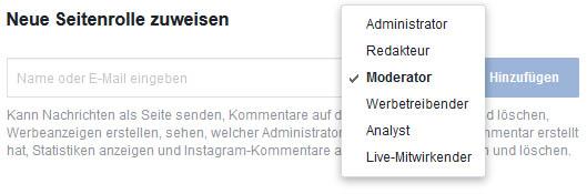 Seitenrollen auf Facebook zuweisen