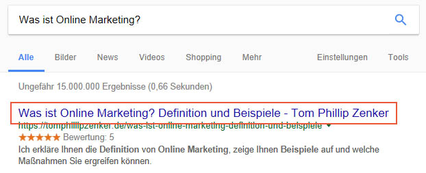 Seitentitel in Google SERPs
