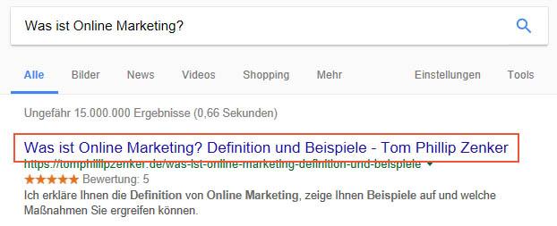 Seitentitel in Google SERPs