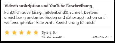 Videotranskription und YouTube Beschreibung Sylvia Familienanwältin Bewertung Tom Phillip Zenker