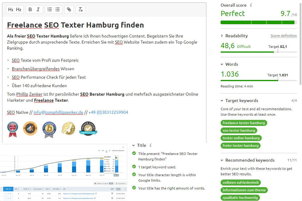 Texter Online Hamburg SEO Perfomance Check