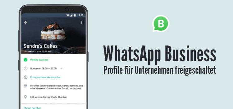 WhatsApp Business: Profile für Unternehmen freigeschaltet