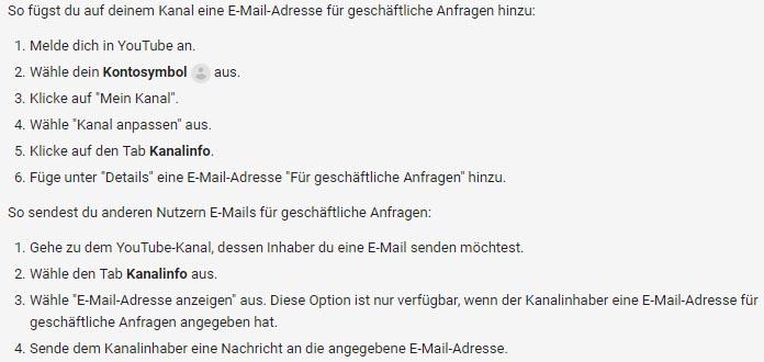 YouTube geschäftliche E Mail Adresse