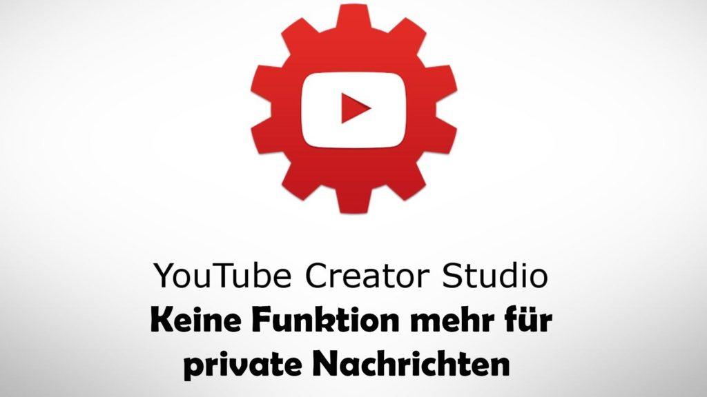 YouTube ohne private Nachrichten im Creator Studio
