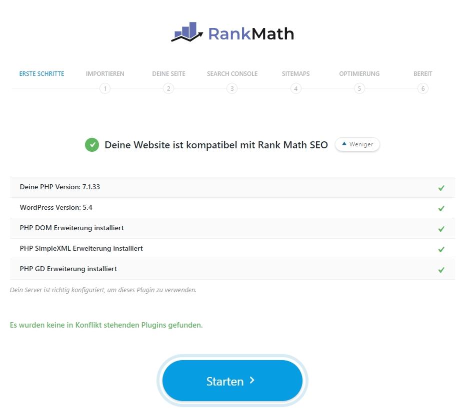 erste Schritte Rank Math SEO Plugin WordPress
