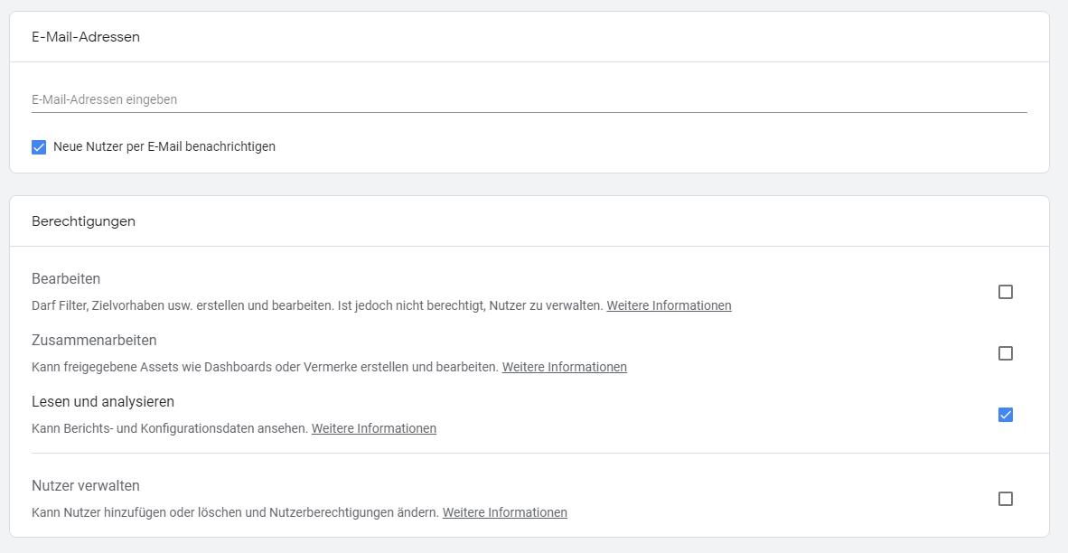 Google Analytics Nutzer und Nutzergruppen Berechtigungen