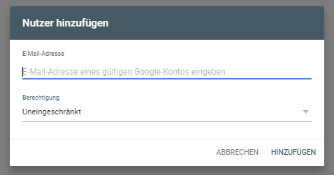 Google Search Console Nutzer Konto