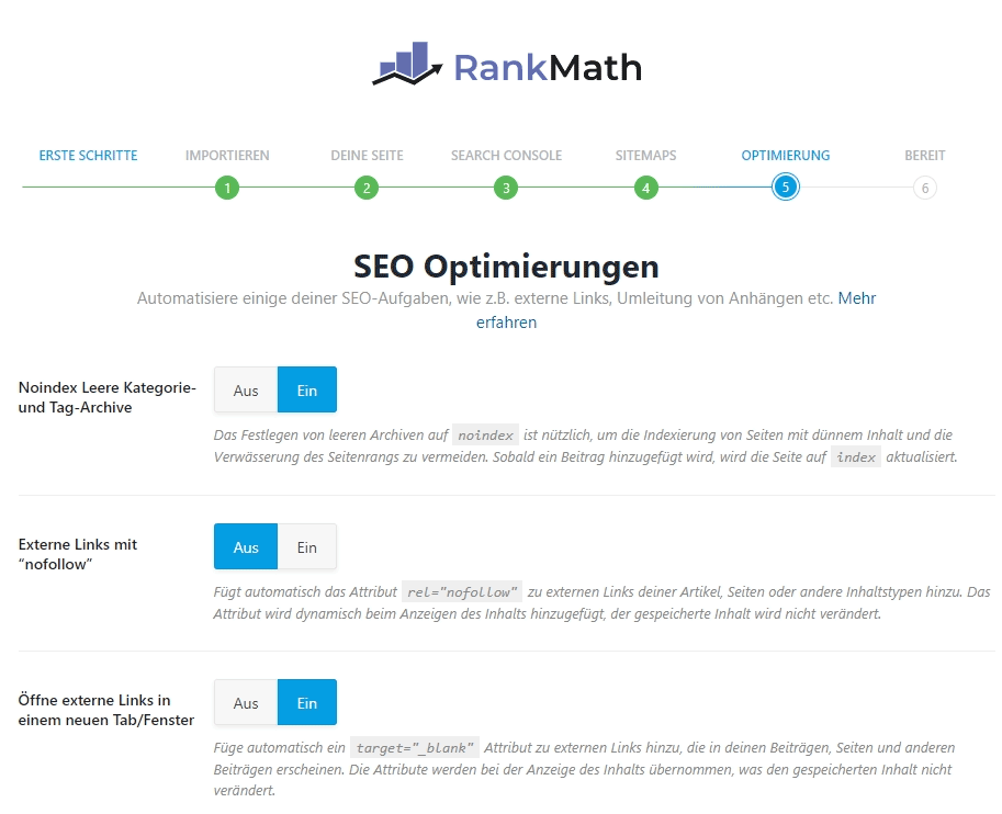 WordPress Rank Math SEO Optimierungen