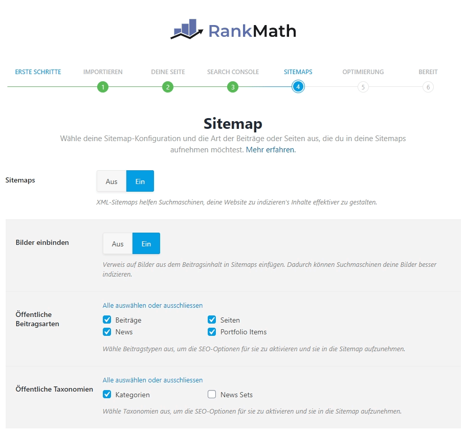 WordPress SEO Rank Math Sitemaps
